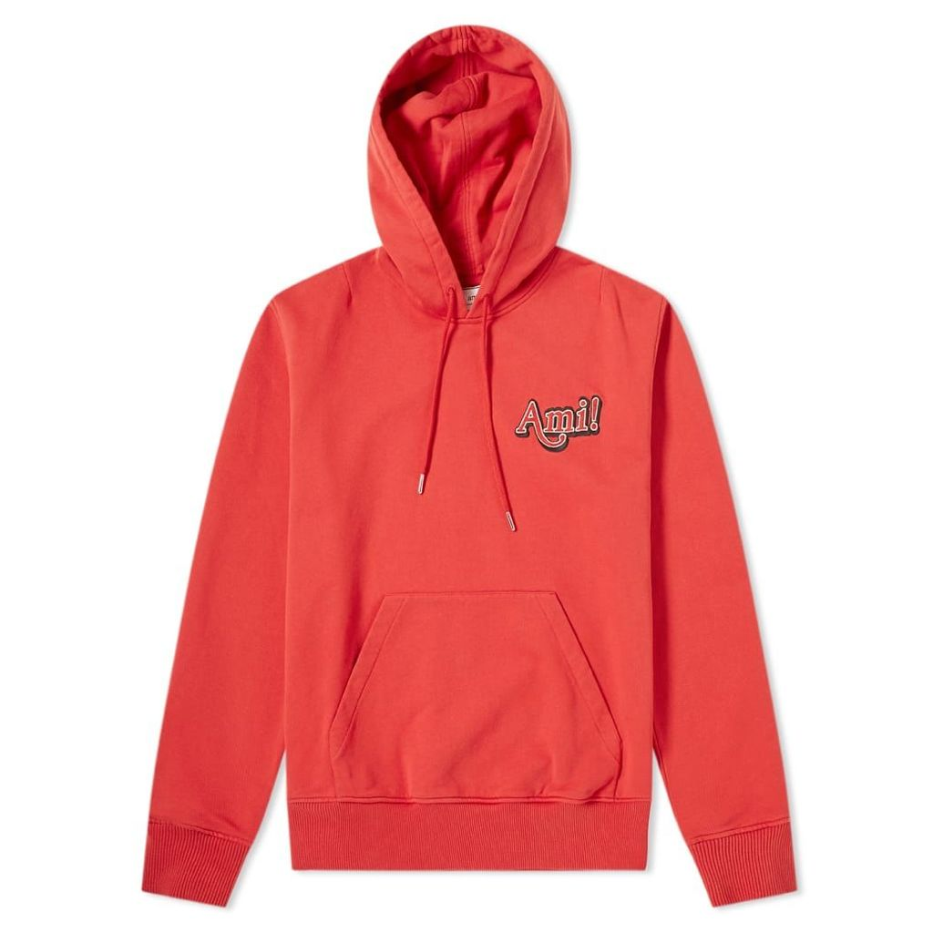 AMI Embroidered Text Logo Hoody Red