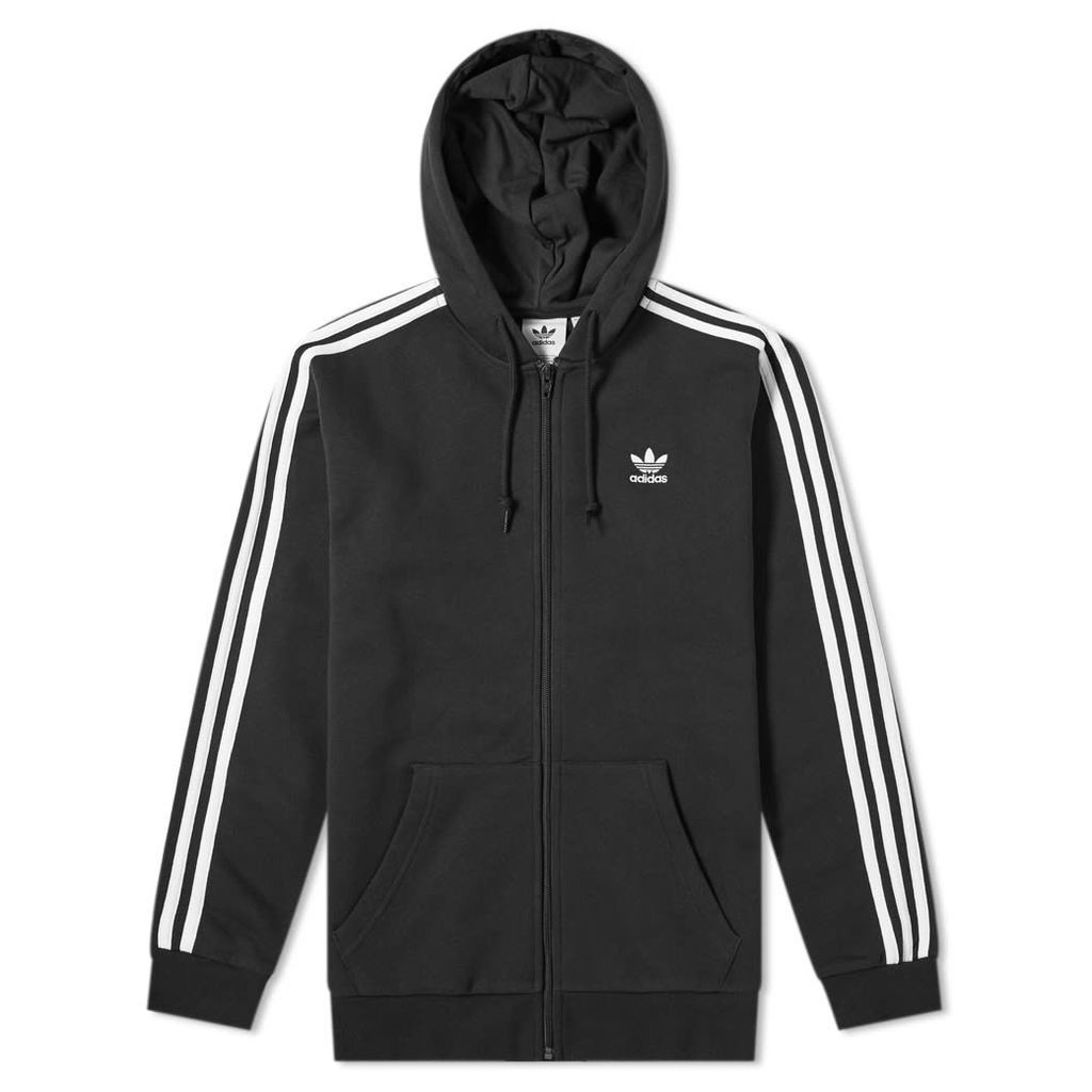 Adidas 3 Stripe Full Zip Hoody Black