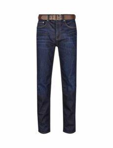 Mens Navy Raw Denim Belted Logan Straight Fit Jeans, NAVY