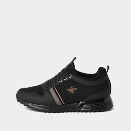 Mens River Island Black 'MCMLXXVI' lace-up trainers
