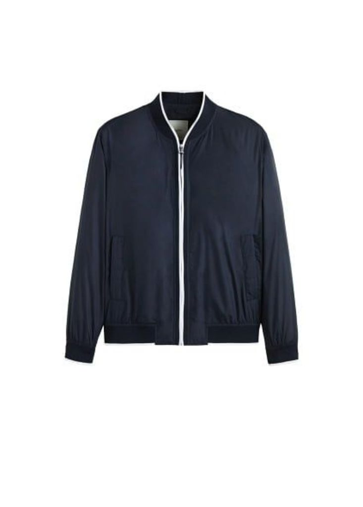 Technical fabric bomber jacket