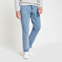 Mens River Island Light Blue Dean straight leg jeans