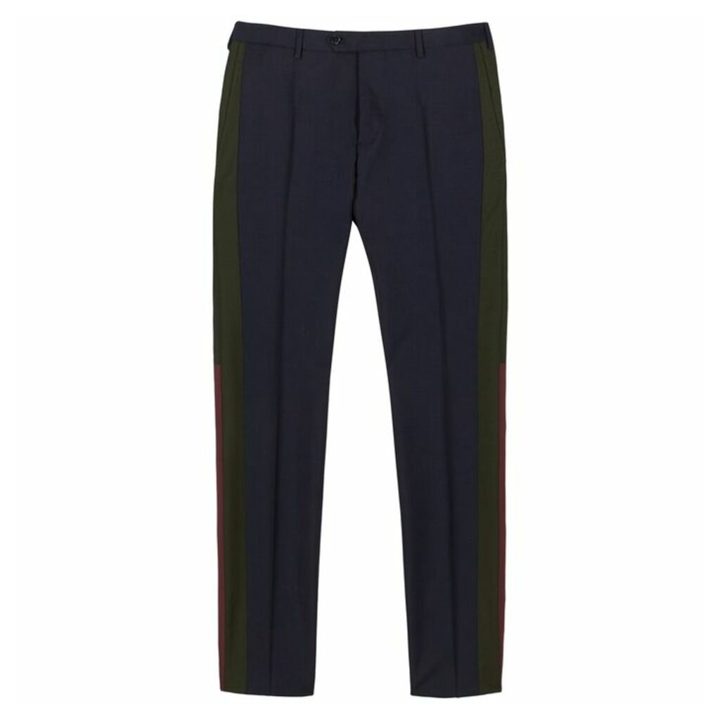 Valentino Navy Striped Cotton Trousers