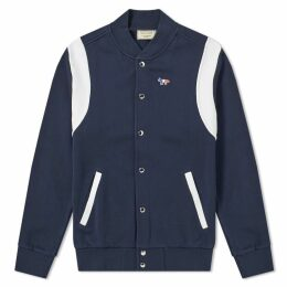 Maison Kitsuné Teddy Tricolour Fox Patch Jacket Navy