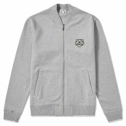 Kenzo Tiger Logo Zip Bomber Jacket Pearl Grey