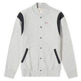 Maison Kitsuné Teddy Tricolour Fox Patch Jacket Grey Melange