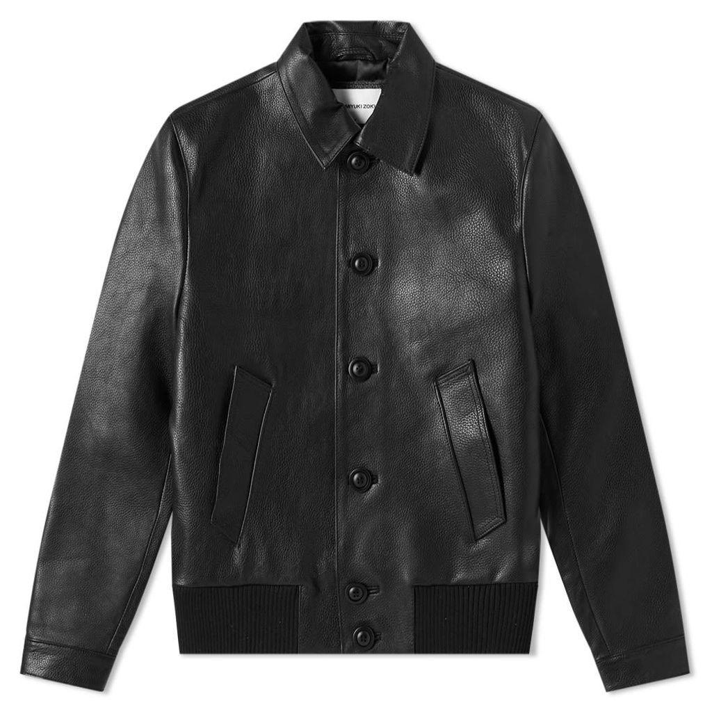 MKI Leather Button Down Rider Jacket Black