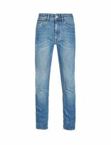 Mens Mid Blue Tyler Skinny Fit Side Stripe Jeans, Blue