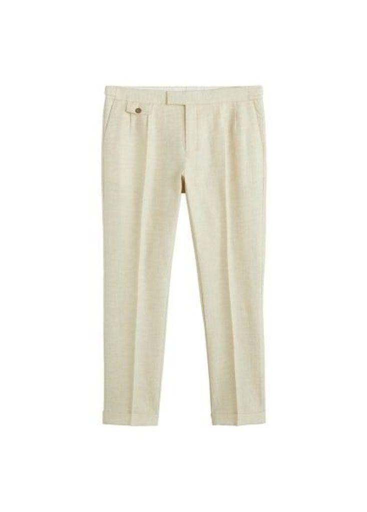 Regular-fit cotton linen trousers