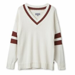 Urban Collective - Oversized Varsity Sweater By Raul Magdaleno White