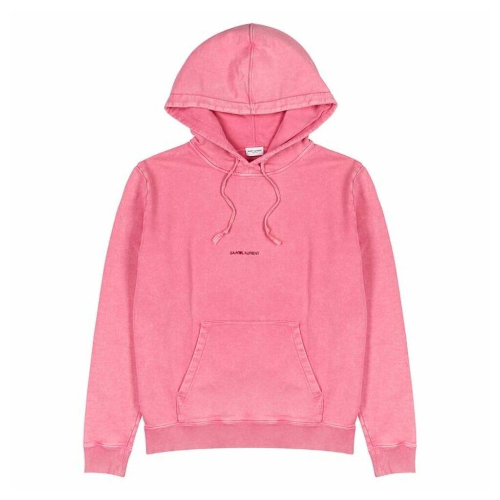 Saint Laurent Pink Logo Hooded Cotton Sweatshirt