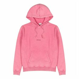 Saint Laurent Pink Logo Hooded Cotton Sweatshirt