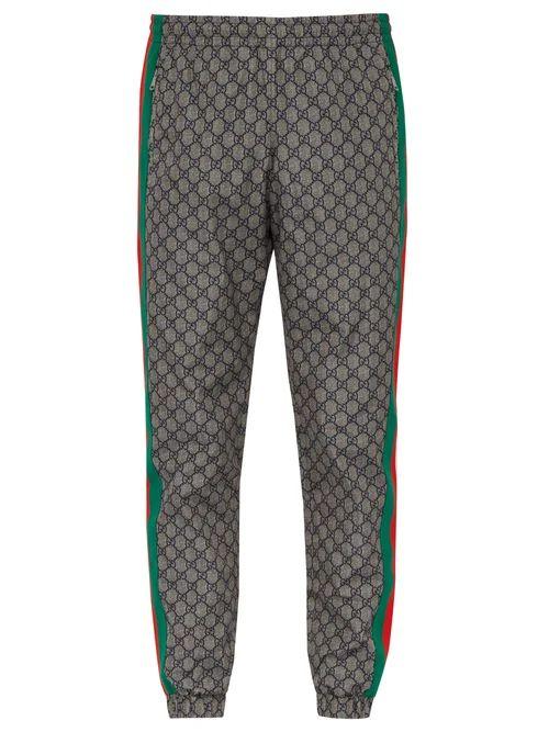 Gucci - Gg Print Side Stripe Track Pants - Mens - Grey