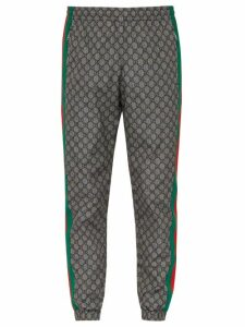 Gucci - Gg Print Side Stripe Track Pants - Mens - Grey