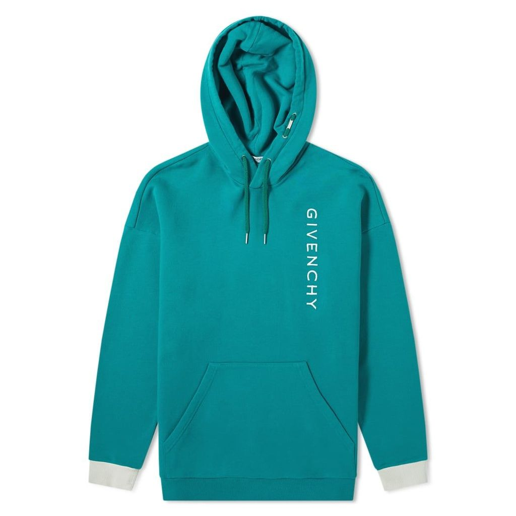 Givenchy Vertical Embroidered Logo Hoody Bright Green & Ivory