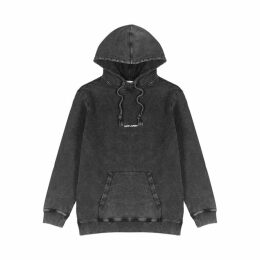 Saint Laurent Grey Distressed Hooded Cotton Sweatshirt