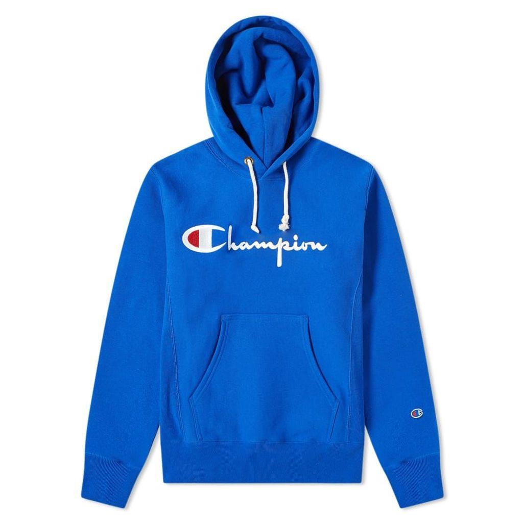 Champion Reverse Weave Script Logo Hoody Blue