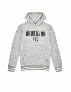 Mens Grey Marl Brookyln Printed Overhead Hoodie, Grey