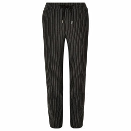 Mens River Island Dark Grey stripe super skinny jogger trousers