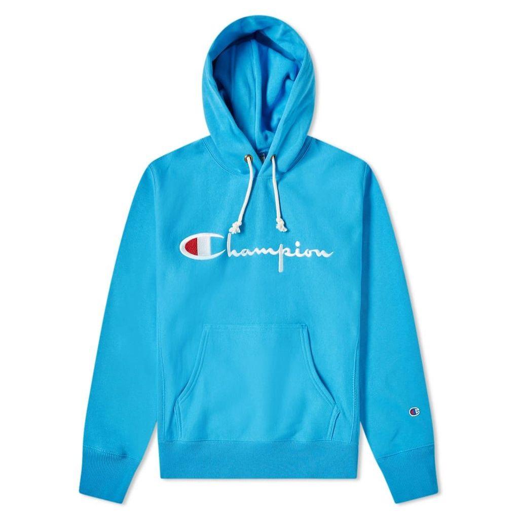 Champion Reverse Weave Script Logo Hoody Ocean Blue
