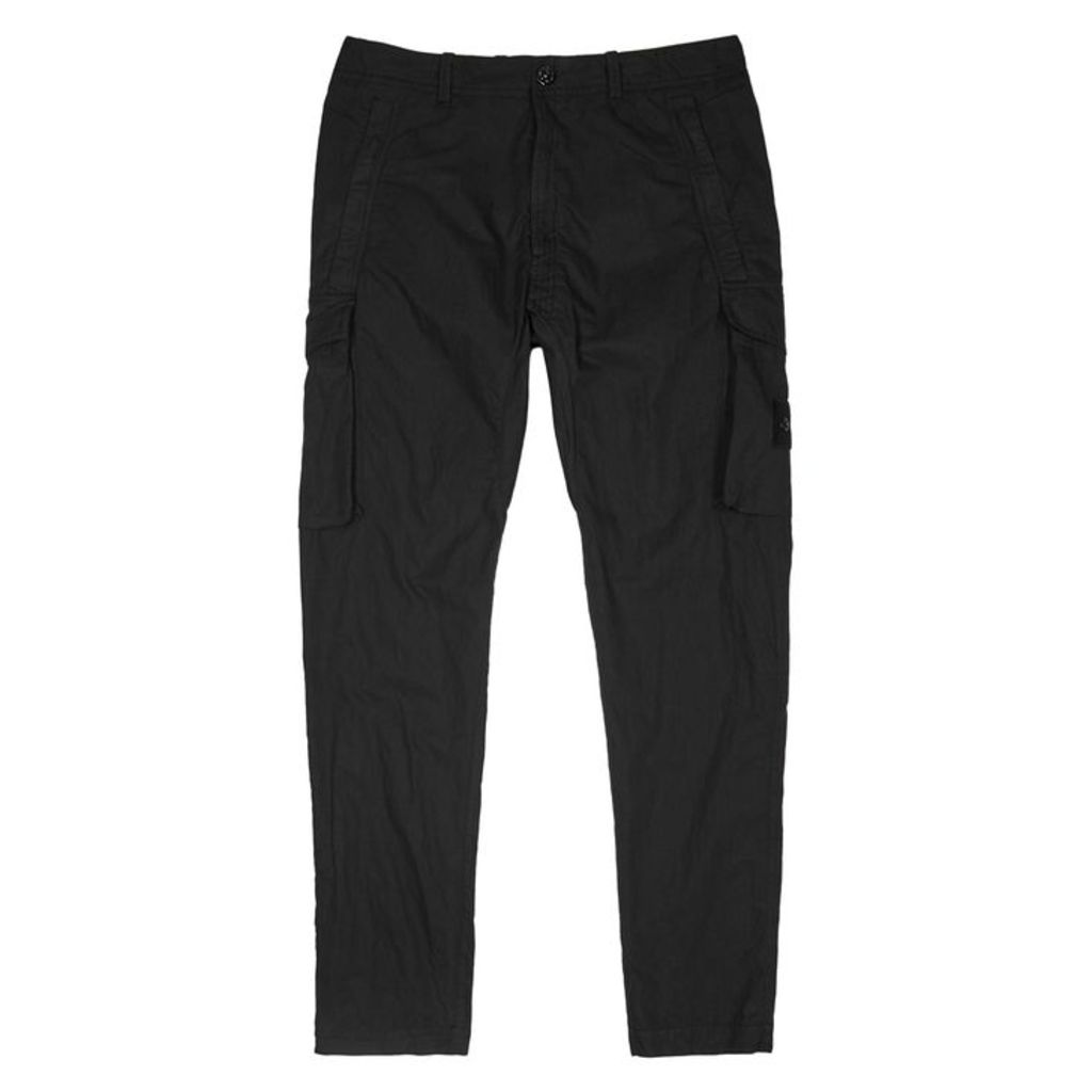 Stone Island Ghost Black Cotton-blend Cargo Trousers