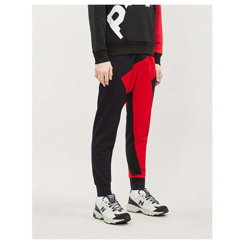 Graphic contrast-panel cotton-jersey jogging bottoms