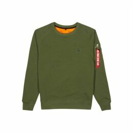 Alpha Industries X-Fit Army Green Cotton-blend Sweatshirt