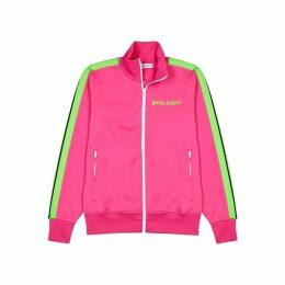 Palm Angels Pink Striped Jersey Sweatshirt