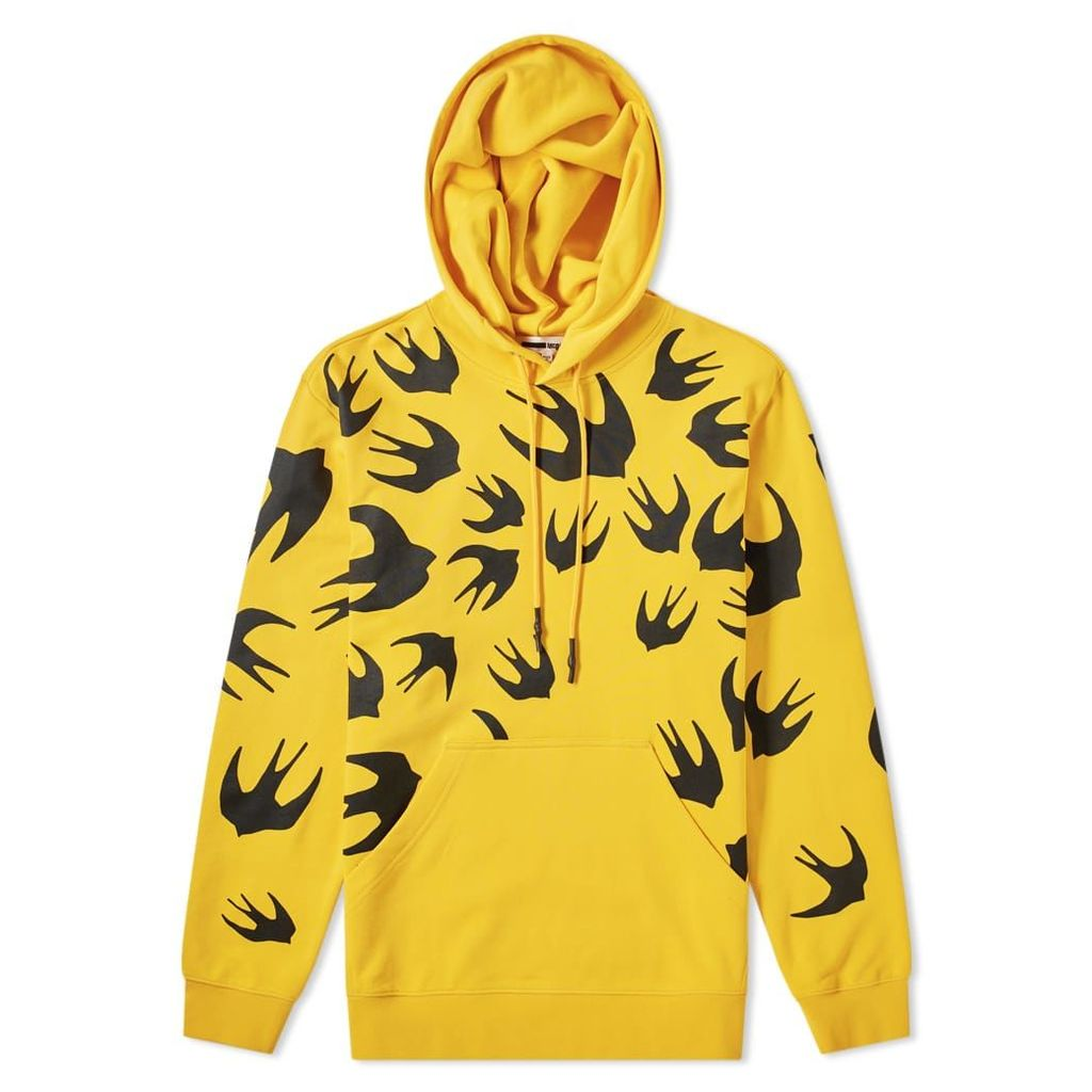 McQ Alexander McQueen Large Swallow Print Popover Hoody Chrome Yellow