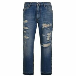 Dolce and Gabbana Distressed Camouflage Slim Jeans