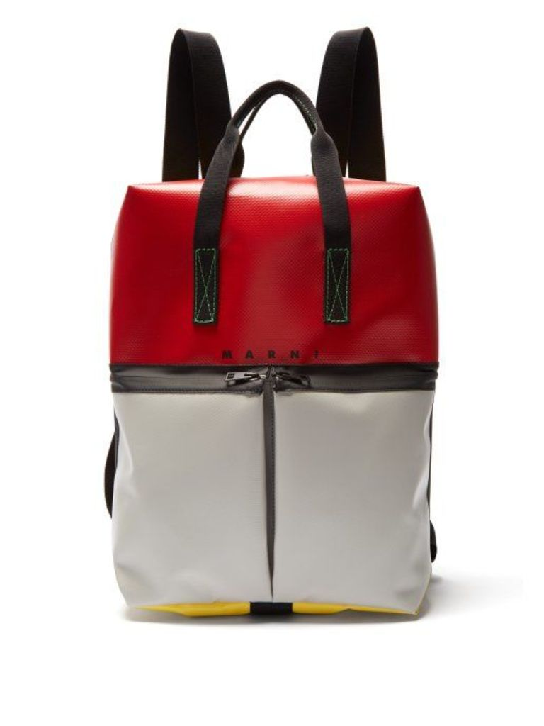 Marni - Colour Block Panelled Backpack - Mens - Red Multi