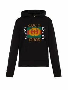 Gucci - Fake Logo Print Cotton Jersey Hooded Sweatshirt - Mens - Black