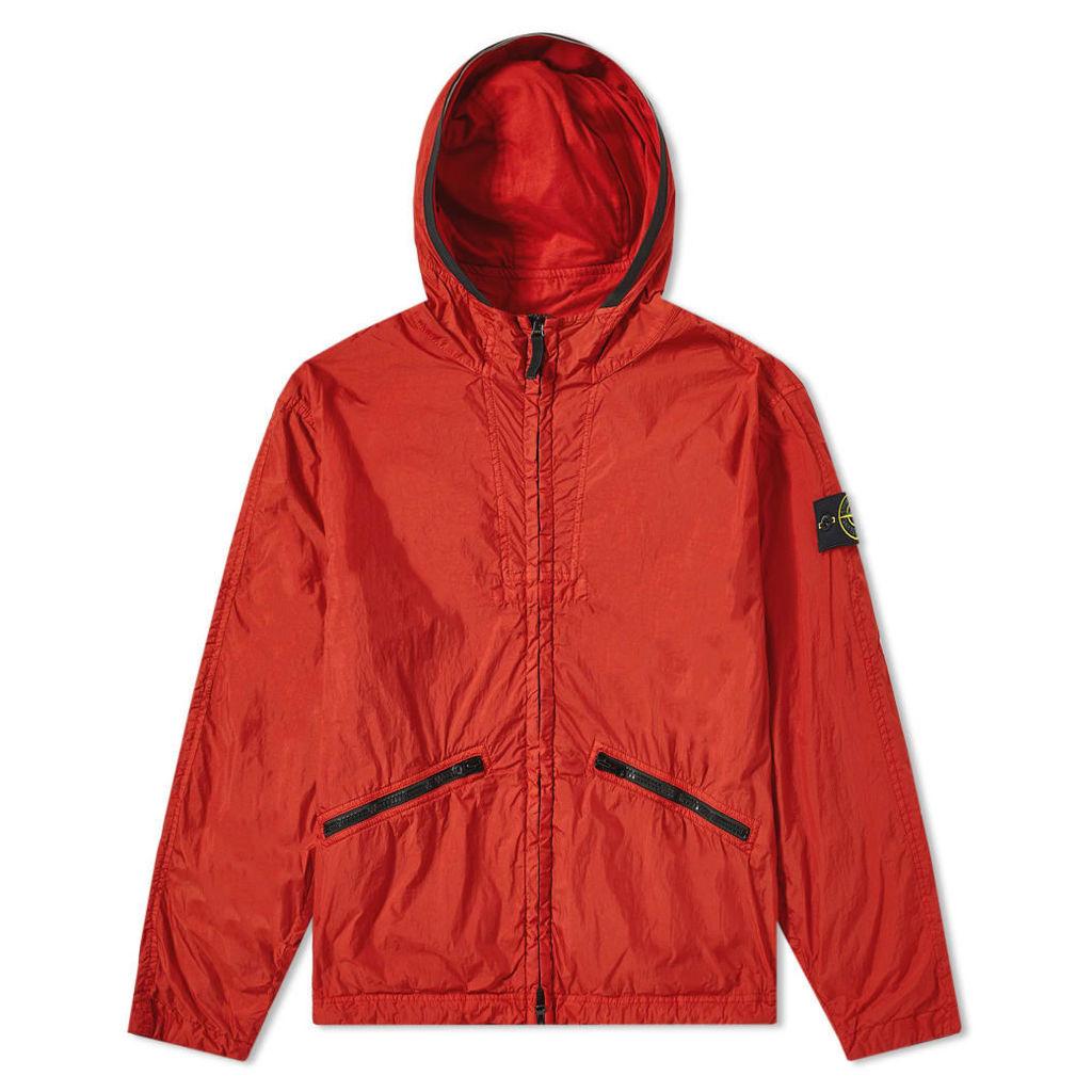 Stone Island Crinkle Reps Hooded Jacket Brick Red