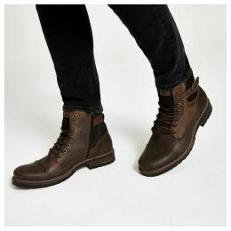 Mens River Island Dark Brown buckle lace-up leather boots