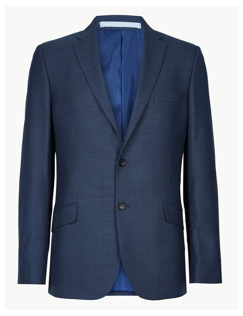 M&S Collection Big & Tall Blue Textured Slim Fit Jacket
