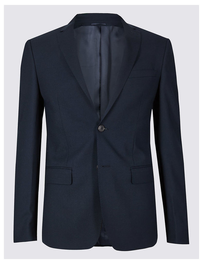 M&S Collection Luxury Big & Tall Navy Skinny Fit Wool Jacket