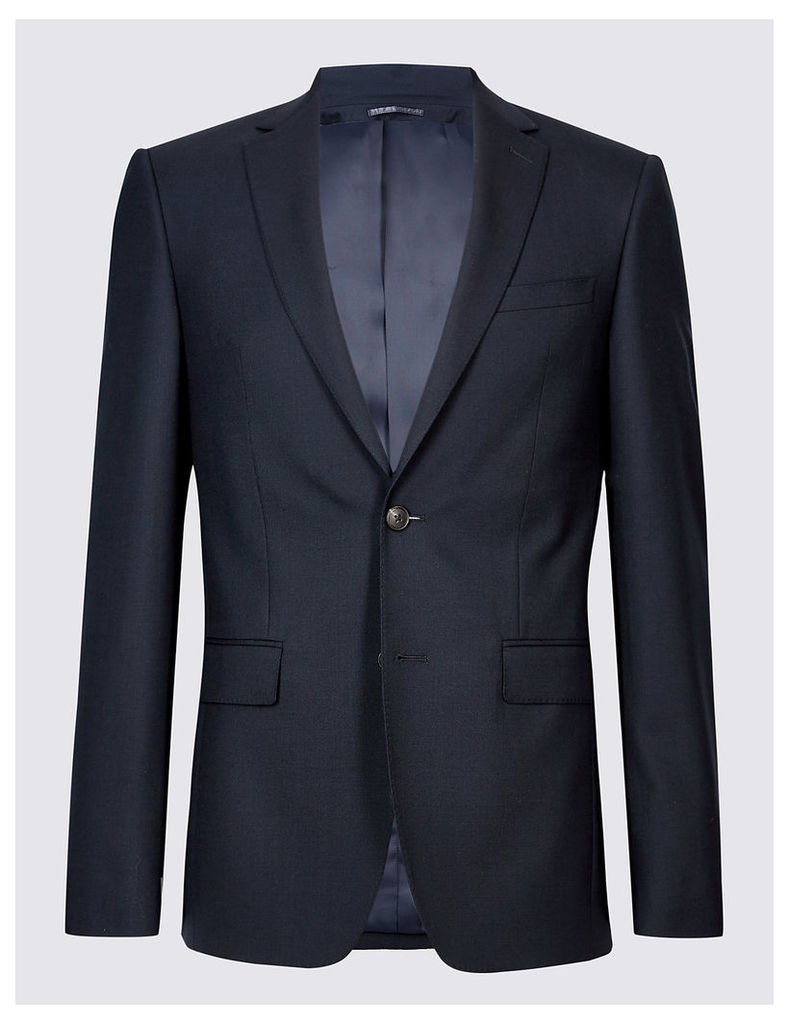 M&S Collection Luxury Navy Slim Fit Wool Jacket