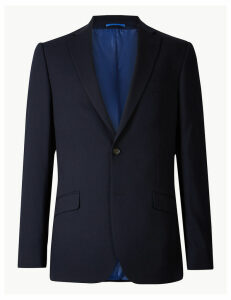 M&S Collection Navy Textured Slim Fit Jacket