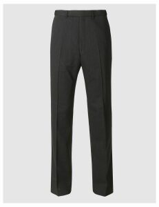 M&S Collection Charcoal Textured Regular Fit Trousers