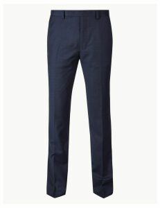 M&S Collection Luxury Navy Slim Fit Wool Trousers