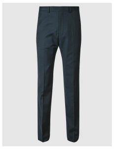 M&S Collection Luxury Navy Regular Fit Wool Trousers