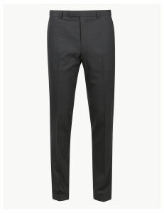M&S Collection Charcoal Textured Skinny Fit Trousers