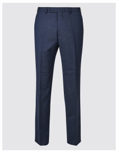 M&S Collection Luxury Big & Tall Indigo Textured Regular Fit Wool Trousers