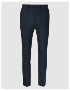 M&S Collection Luxury Big & Tall Navy Skinny Fit Wool Trousers