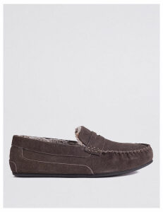 M&S Collection Suede Slip-on Slippers with Freshfeet