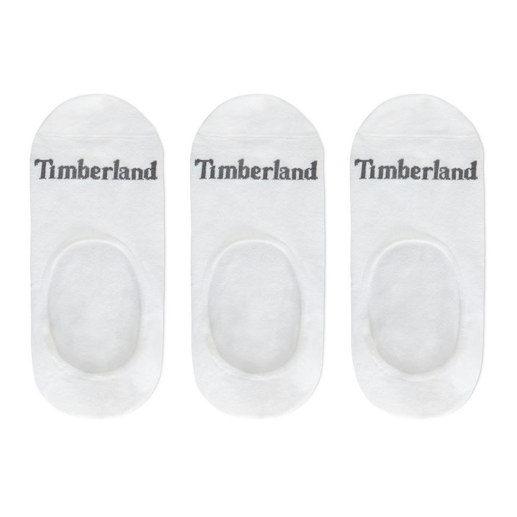 Timberland Three Pair Invisible Socks For Men In White White, Size M
