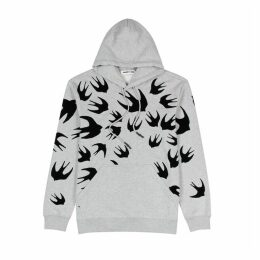 McQ Alexander McQueen Swallow-print Hooded Cotton Sweatshirt