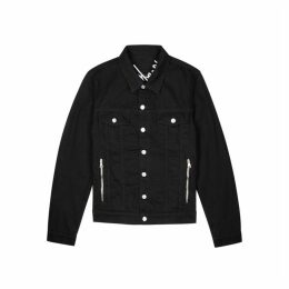 Balmain Black Logo-embroidered Denim Jacket