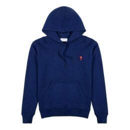 AMI Logo-embroidered Hooded Cotton Sweatshirt