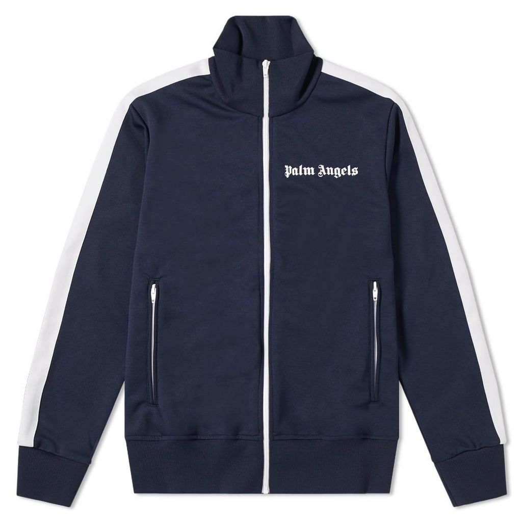 Palm Angels Taped Track Jacket Navy & White
